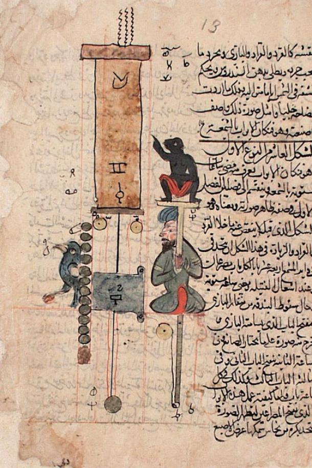 El Libro del conocimiento de los ingeniosos dispositivos mecánicos, de Ismail al-Jazari, fue escrito en 1206 e incluye una descripción detallada de cien dispositivos e invenciones junto con instrucciones sobre cómo construirlos. (Dominio público)