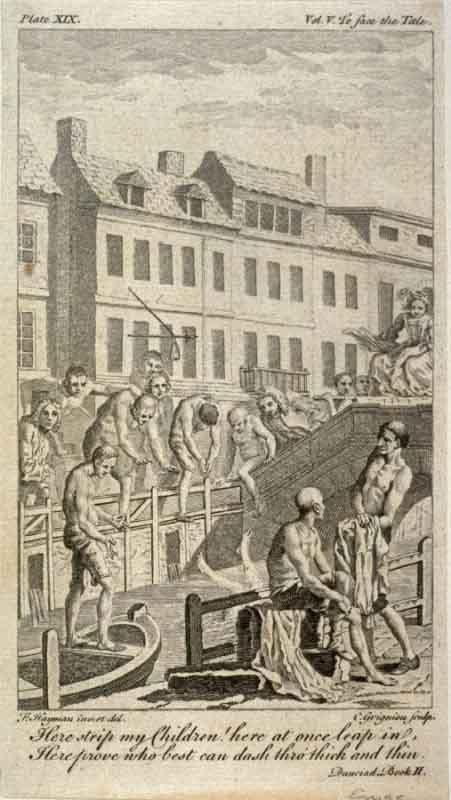 Puente sobre el Canal Nuevo en Holborn: ilustración de 'Dunciad' de Alexander Pope (1728). Los bañistas se incluyen en alusión satírica a la mala calidad del agua. (Dominio público)