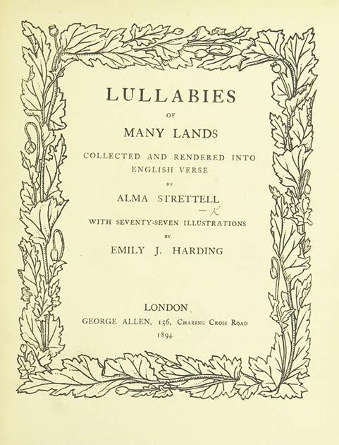 """Imagen digitalizada de la Biblioteca Británica de la página 7 de las """"Canciones de cuna de muchas tierras recopiladas y traducidas al verso inglés por A. Strettell"""". (Biblioteca británica / dominio público)"""