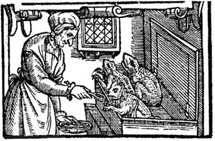 Ilustración de la Inglaterra de finales del siglo XVI en la que podemos ver a una bruja dando de comer a sus animales familiares. Algunos historiadores opinan que los espíritus familiares son un concepto anterior al cristianismo. (Public Domain)