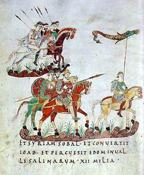Caballeros de caballería con estandarte draco del siglo noveno. (Maksim / Dominio Público)