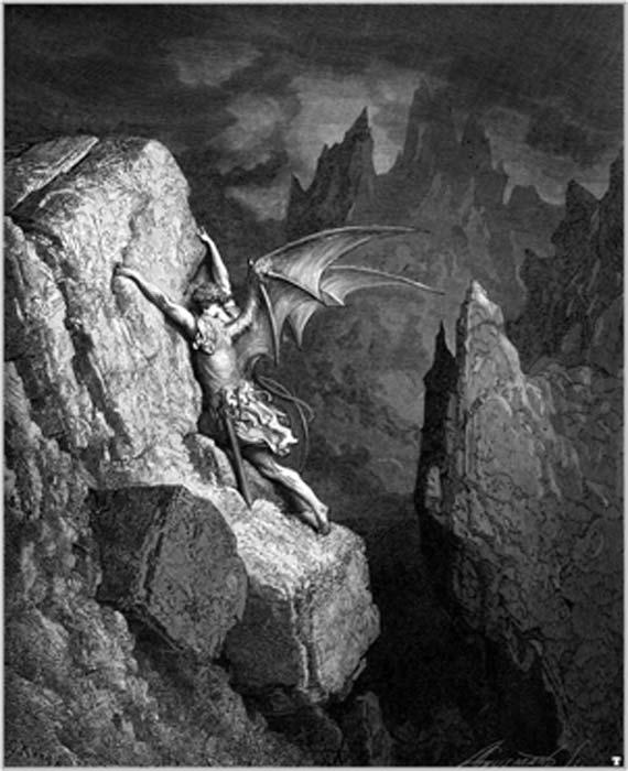 """La caída de Lucifer, de Gustave Dore, un grabado que hizo para """"Paradise Lost"""". (Holger Thölking / Dominio público)"""