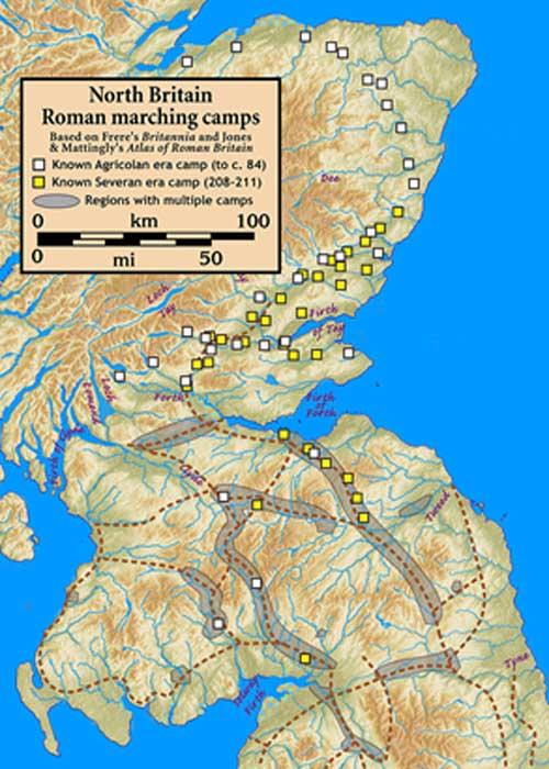 Campamentos romanos de marcha en el norte de Gran Bretaña / Escocia. (Notuncurious / CC BY-SA 3.0)