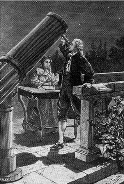 Carolina Herschel toma notas mientras su hermano William observa el 13 de marzo de 1781, la noche en que William descubrió a Urano. (H.Seldon / Dominio público)