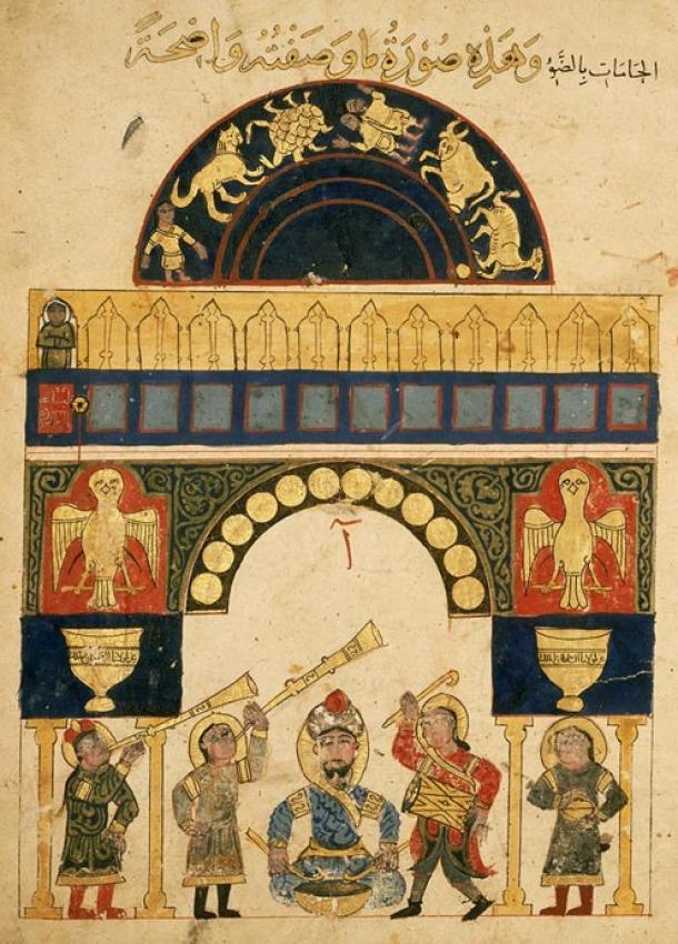 El reloj de agua del castillo es otro ingenioso dispositivo mecánico del famoso abucheo de inventos de Ismail al-Jazari. (Dominio público)