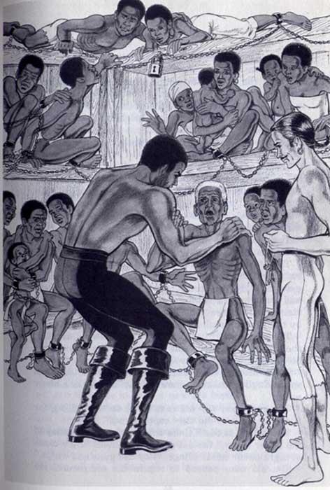 Cesar Black y sus hombres son capturados por traficantes de esclavos. (Noah Scalin / CC BY-SA 2.0)