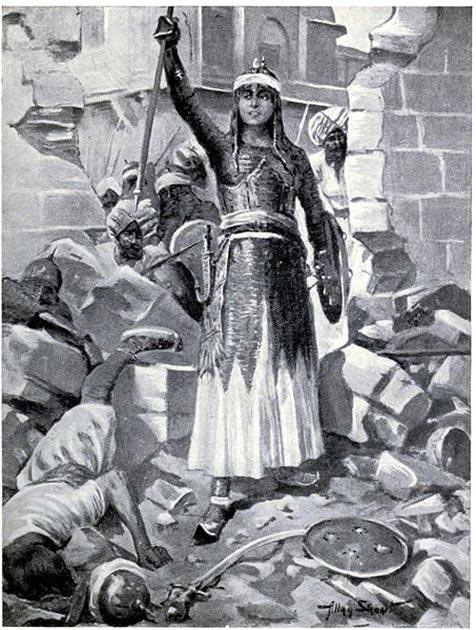 Chand Bibi defiende Ahmadnagar en 1595. (Dominio público)
