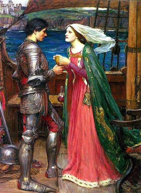 Durante el siglo XII, el carácter de Arturo comenzó a ser marginado por la acumulación de leyendas artúricas como la de Tristán e Iseult, representadas aquí. (Luca Z. / Dominio público)