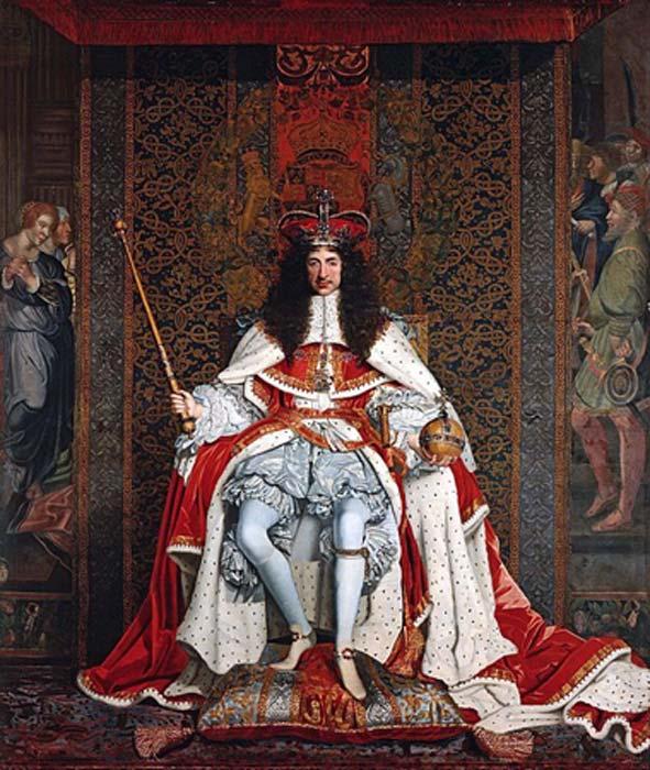 """""""Carlos II de Inglaterra en túnicas de coronación"""" (1661-1662) de John Michael Wright. (Dominio publico)"""