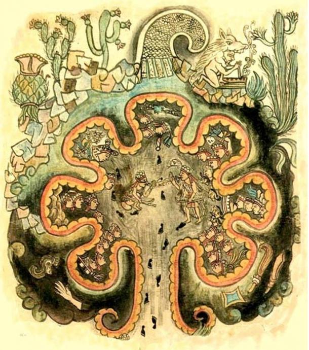 """Chicomoztoc - el lugar de las siete cuevas. El origen mítico de las tribus """"nahuatlaca"""". De la """"Historia Tolteca chichimeca"""". Un códice postcortesiano de 1550 (dominio público)"""