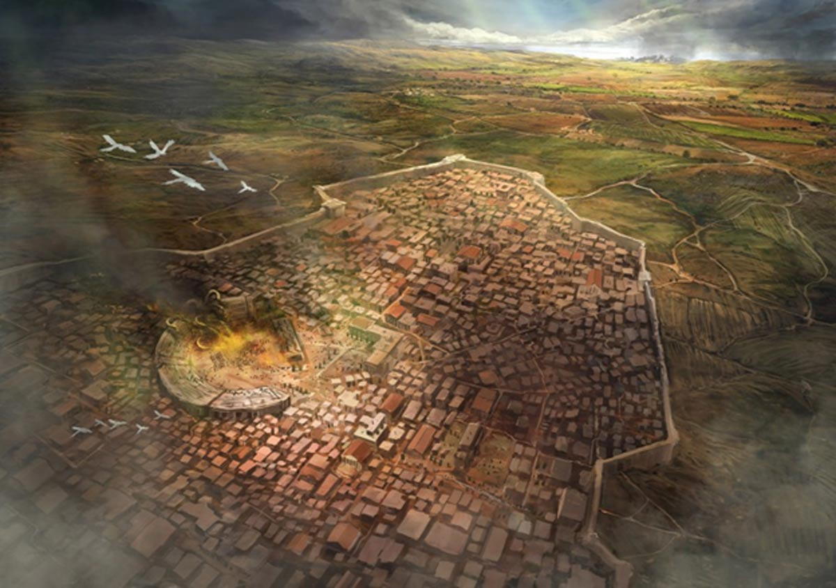 Representación artística de la ciudad de Argos, importante centro Micénico de la antigua Grecia. (Jeff Brown Graphics)