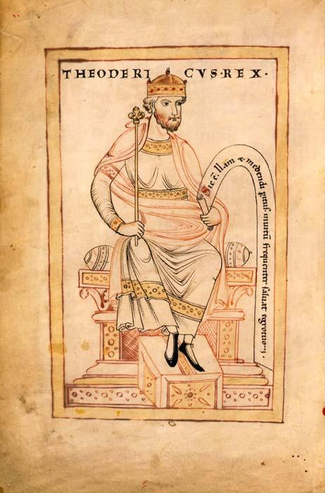 Se cree que el Codex Argenteus fue encargado por o para el rey ostrogodo Teodorico el Grande. (Dominio público)