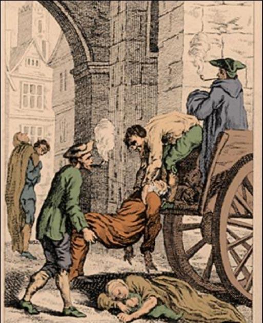 Recolectando a los muertos para su entierro durante la Gran Plaga de Londres. El último gran brote de la Peste Negra en Inglaterra. (7mike5000 / Dominio público)