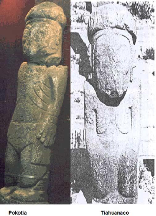 Izquierda: estatua de Pokotia. Derecha: estatua de Tiahuanaco