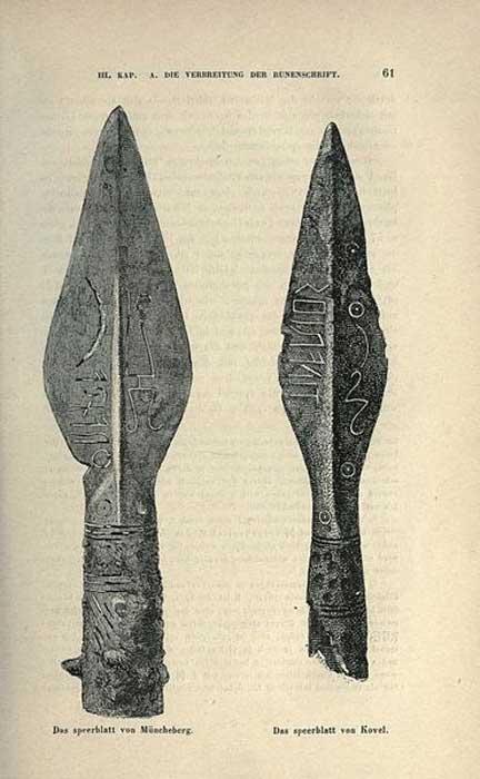 Una comparación de las puntas de lanza Müncheberg (izquierda) y Kovel (derecha). (Dominio público)