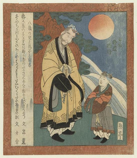 Confucio, representado aquí conversando con un niño, era un filósofo chino cuyas ideas han influido en las culturas de todo el mundo. Sus discípulos organizaron sus enseñanzas en las Analectas (Rijksmuseum / CC0)