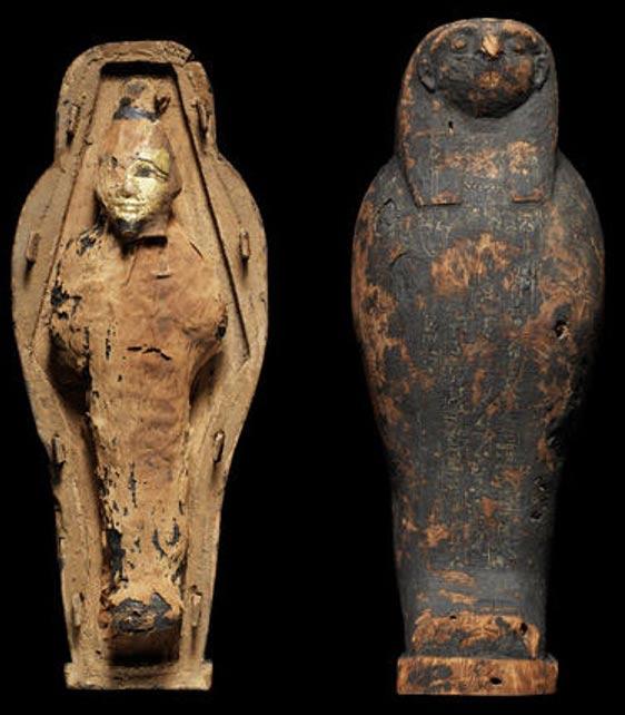 """Un ejemplo de una """"momia de maíz"""" en forma del dios Osiris. Si bien la momia parece un niño pequeño, en realidad está hecha de barro y granos (CC by SA 3.0 / Bombaladan)"""