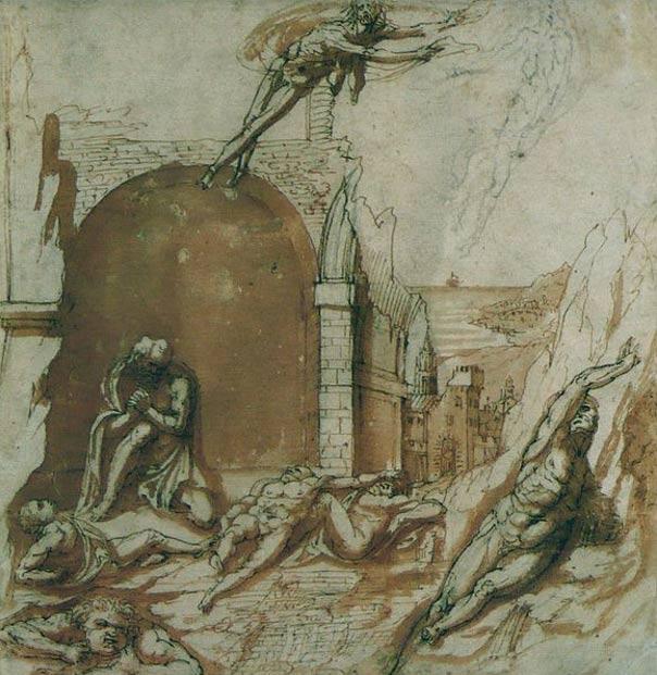 El conde Ugolino y sus hijos en prisión, visitados por el hambre. Pierino da Vinci, siglo XVI (Wikimedia Commons)