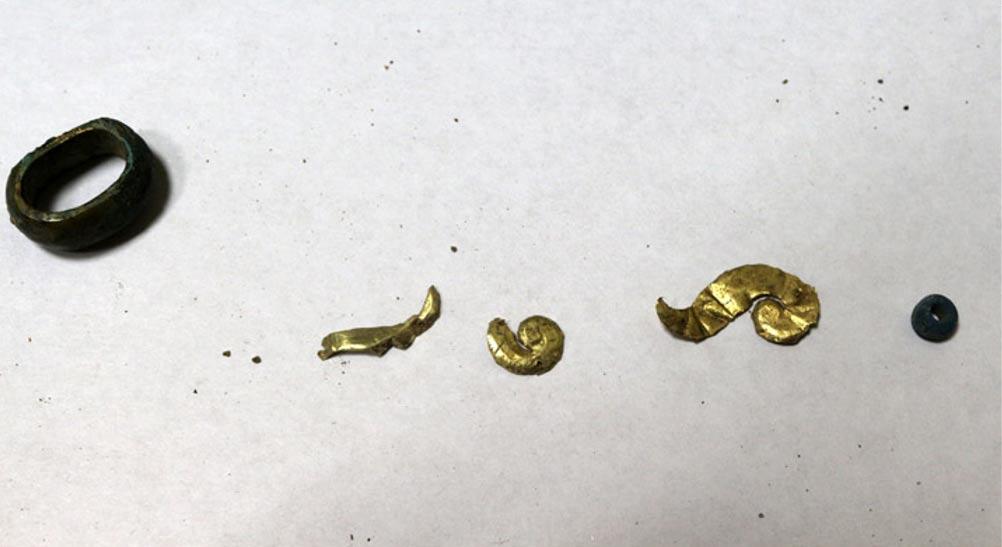 'Junto con los restos se encontraron cuentas, objetos decorativos de madera recubiertos de oro y puntas de flecha de hueso.' Fotografías: Vasily Oinoshev