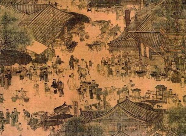 "La vida cotidiana en Kaifeng, retratada en ""El Festival Qingming Junto al Río"" (siglo XII) (Wikimedia Commons)"
