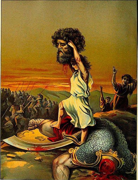 David sosteniendo la cabeza del gigante Goliat. (Fæ / Dominio público)