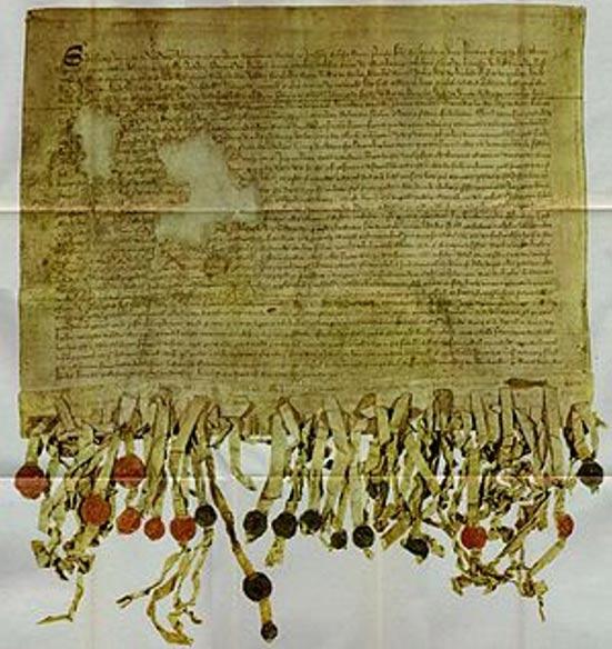 La copia de Tyninghame de la Declaración de Arbroath (1320) (Wikimedia Commons)