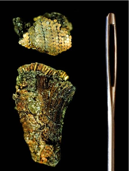 Detalle de la decoración de la empuñadura de una daga exhibido al lado de una aguja para coser escamas. Los clavos eran puestos en líneas rectas y las cabezas se superponían unas con otras como escamas de peces.