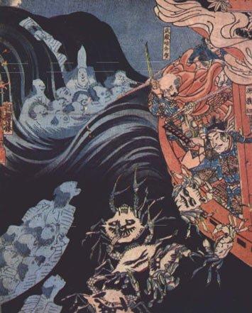 Los guerreros Heike derrotados se convierten en cangrejos cuando son arrojados de sus barcos. Pintura de Kuniyoshi. Fuente de la imagen