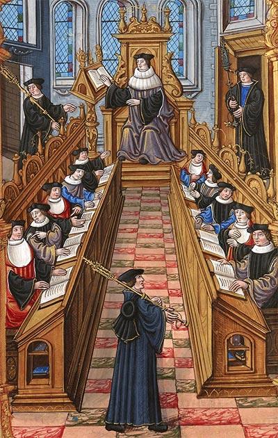 Representación de una reunión de médicos en la Universidad de París en la Edad Media. (Étienne Colaud / Dominio público)