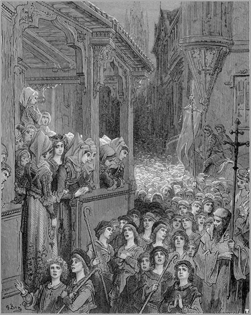 Representación de las desastrosas Cruzadas de los Niños, donde decenas de miles de niños cruzados desarmados y autoproclamados marcharon en Tierra Santa para recuperar Jerusalén de los musulmanes en 1212. (Gustave Doré / Dominio público)