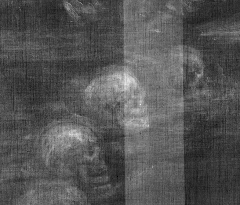 Detalle del círculo de calaveras descubierto recientemente gracias a los rayos X en la famosa pintura de Glindoni en la que aparece John Dee. (National Gallery, London/Wellcome Library)