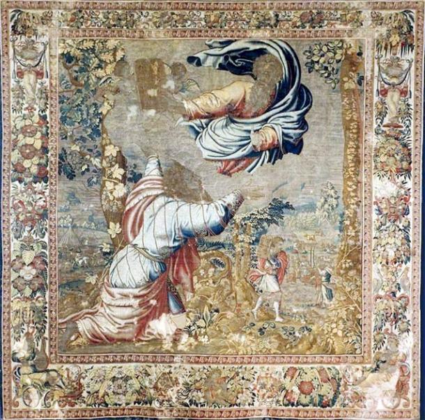 Como se describe en el Libro de Deuteronomio, este tapiz de la década de 1550 de Jan de Kempeneer representa a Moisés recibiendo las tablas. (Dominio público)