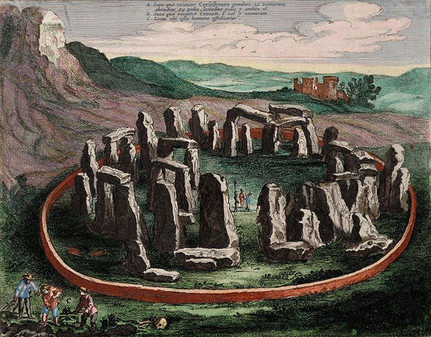 Dibujo de Stonehenge realizado en 1645. (Public Domain)
