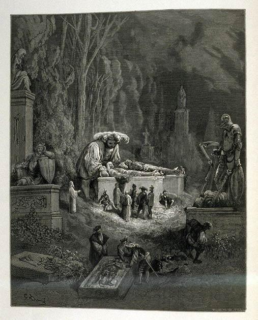 Este dibujo antiguo muestra al rey Og de Basán, un Anakim, como gigante. Tenga en cuenta los otros gigantes en la parte superior derecha del dibujo. (Gustave Doré / Dominio público)