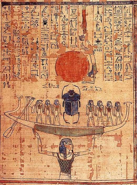 Nun, dios de las aguas del caos, alza la barca del dios sol Ra (representado tanto por el escarabajo como por el disco solar) en los cielos, en el principio de los tiempos. (Public Domain)