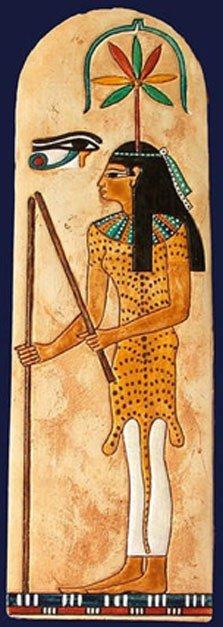 Seshat, la antigua diosa egipcia de la escritura, los libros y la historia, representada con una colorida hoja de cannabis sobre su cabeza. (History with a Twist)