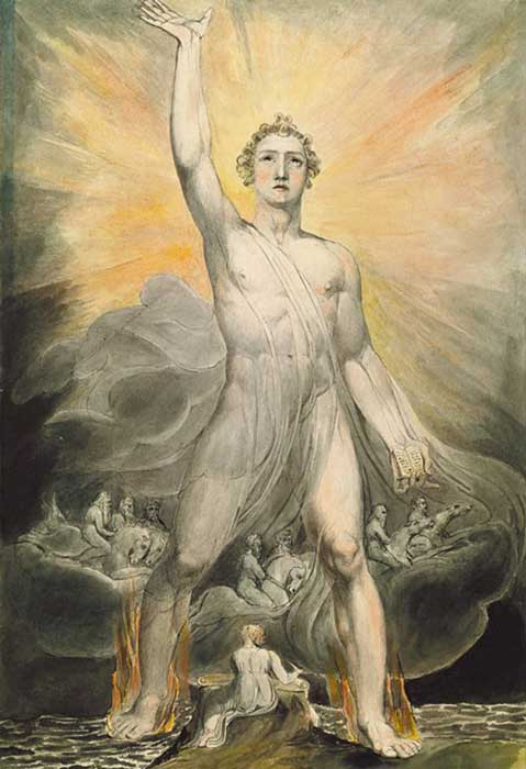 ¿Muchos dioses o Dios y su corte celestial? 'Ángel de la Revelación' de William Blake (dominio público)