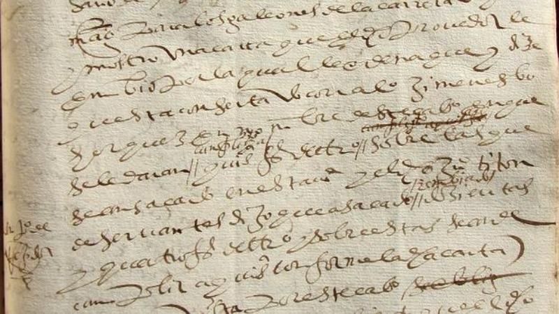 Referencia a Juan Titón de Cervantes descubierta en el Archivo Municipal de Utrera, Sevilla. (Fotografía: ABC/Julio Mayo)