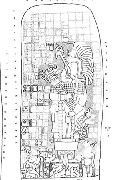El dibujo de una talla encontrada en un monumento de piedra en Cobá muestra a la reina guerrera que pudo haber construido el camino maya para expandir su dominio. (Traci Ardren y Dominique Meyer / Universidad de Miami)