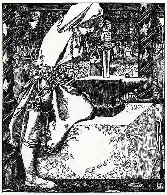 La historia de Arturo sacando la espada de una piedra apareció en el Merlin del siglo XIII de Robert de Boron. (John Sweeney / Dominio público)