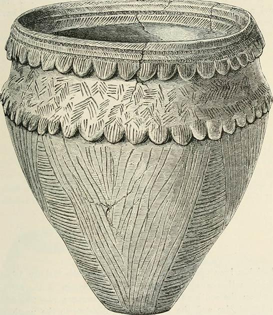 Dibujo de una embarcación de las Islas Orcadas. (CC0) Los arqueólogos piensan que lo más probable es que la olla se haya mantenido en su lugar mediante algún tipo de cesta mientras la arcilla se estaba secando, dejando accidentalmente la impresión.