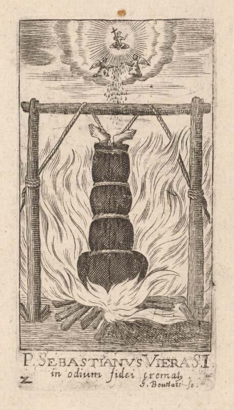 Este dibujo, de 1656 d.C., muestra a un seguidor cristiano en Japón quemado vivo. (Gerard Bouttats / Dominio público)