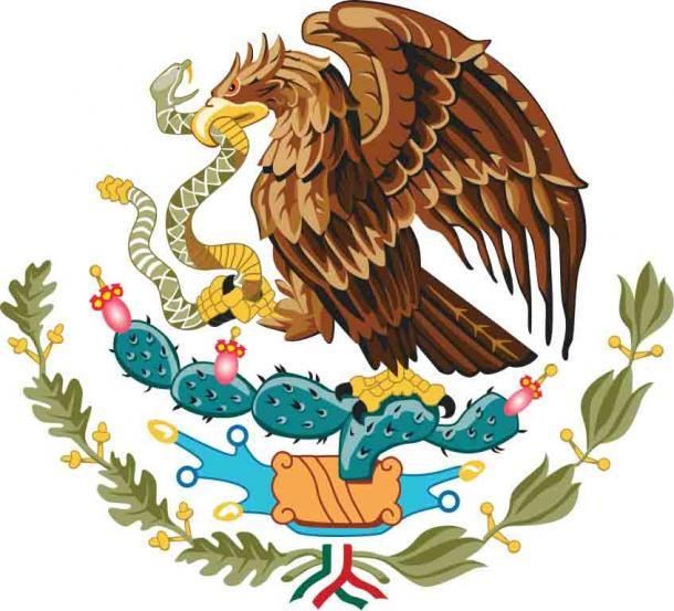 El escudo de armas mexicano representa un águila real posada sobre un nopal devorando una serpiente de cascabel. (Dominio público)