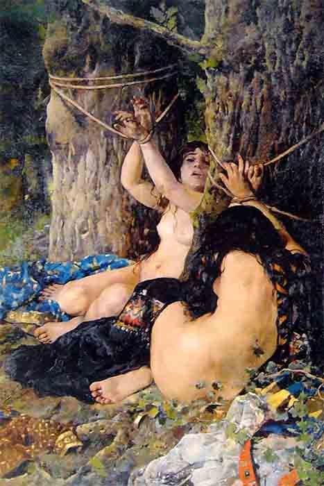 En el poema épico de ficción El Cantar de mío Cid, el rey dispuso que las hijas de El Cid se casaran con los príncipes de Carrión, pero las golpearon y las dieron por muertas. El rey obliga a los príncipes a devolver la dote y las hijas del Cid se casan con los príncipes herederos de Navarra y Aragón. (Dominio público)