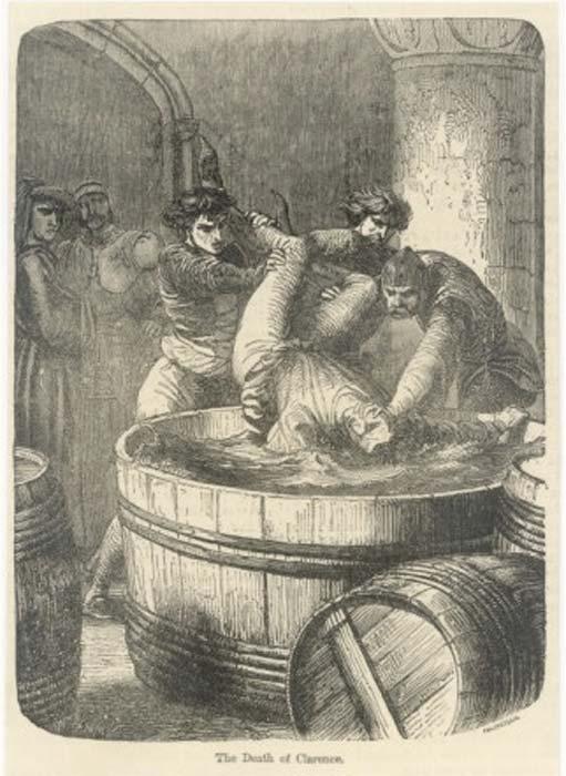 El duque de Clarence se ahoga en un barril de vino (dominio público)