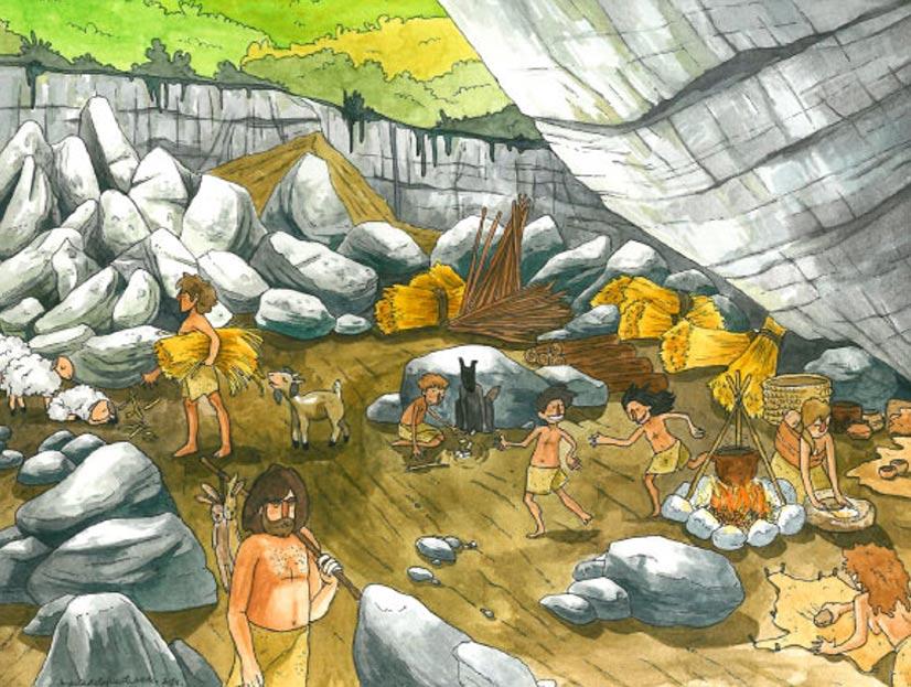 Ilustración de la vida cotidiana en la Cueva del Portalón durante el Neolítico y la Edad del Cobre (Maria de la Fuente)
