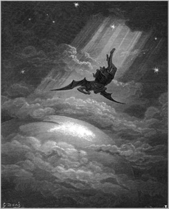 En este grabado antiguo, Gustave Doré ilustra a Satanás volando a la Tierra desde la épica 'Paradise Lost' de Milton. (Holger Thölking / Dominio público)