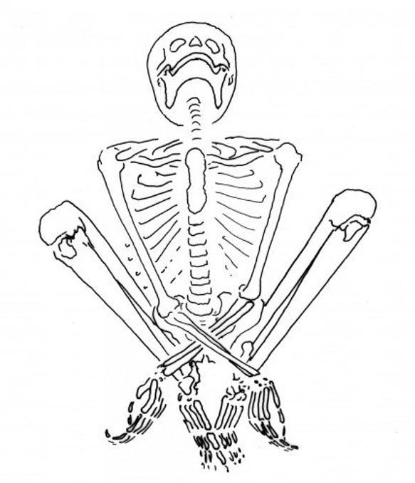 Este esqueleto perteneció a una mujer joven que se encontraba embarazada en el momento de su muerte. Fue hallado en esta posición, en cuclillas con las manos cruzadas entre sus piernas. La posición del cuerpo sugiere que manos y piernas podrían haber estado atados. (Illustración de Marta Mirazón Lahr)
