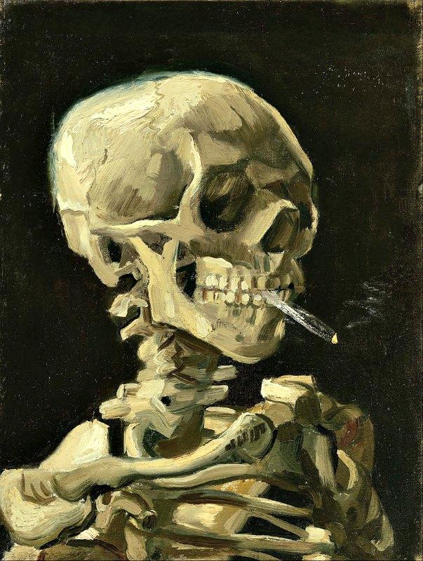 """Los investigadores se toparon con un buen número de hallazgos sorprendentes, como el que desveló un segmento específico de ADN neandertal, causante de un significativo aumento del riesgo de adicción a la nicotina. En la imagen, """"Calavera fumando un cigarrillo"""", óleo de 1885 obra de Vincent van Gogh. Museo Van Gogh de Ámsterdam, Holanda. (Public Domain)"""