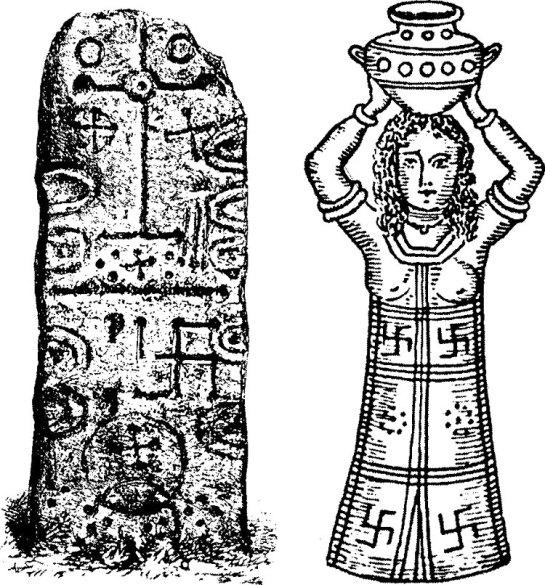 La esvástica, símbolo solar fenicio, aparece en la piedra fenicia hallada en Craig-Narget (Escocia), y en las vestiduras de esta sacerdotisa fenicia. (Imagen)